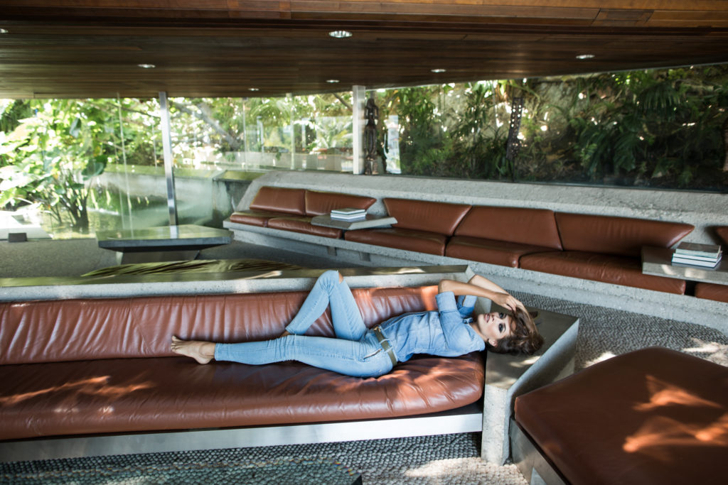 Xenia x GUESS at Sheats Goldstein Residence Big Lebowski couch. Photos by Samuel.Black