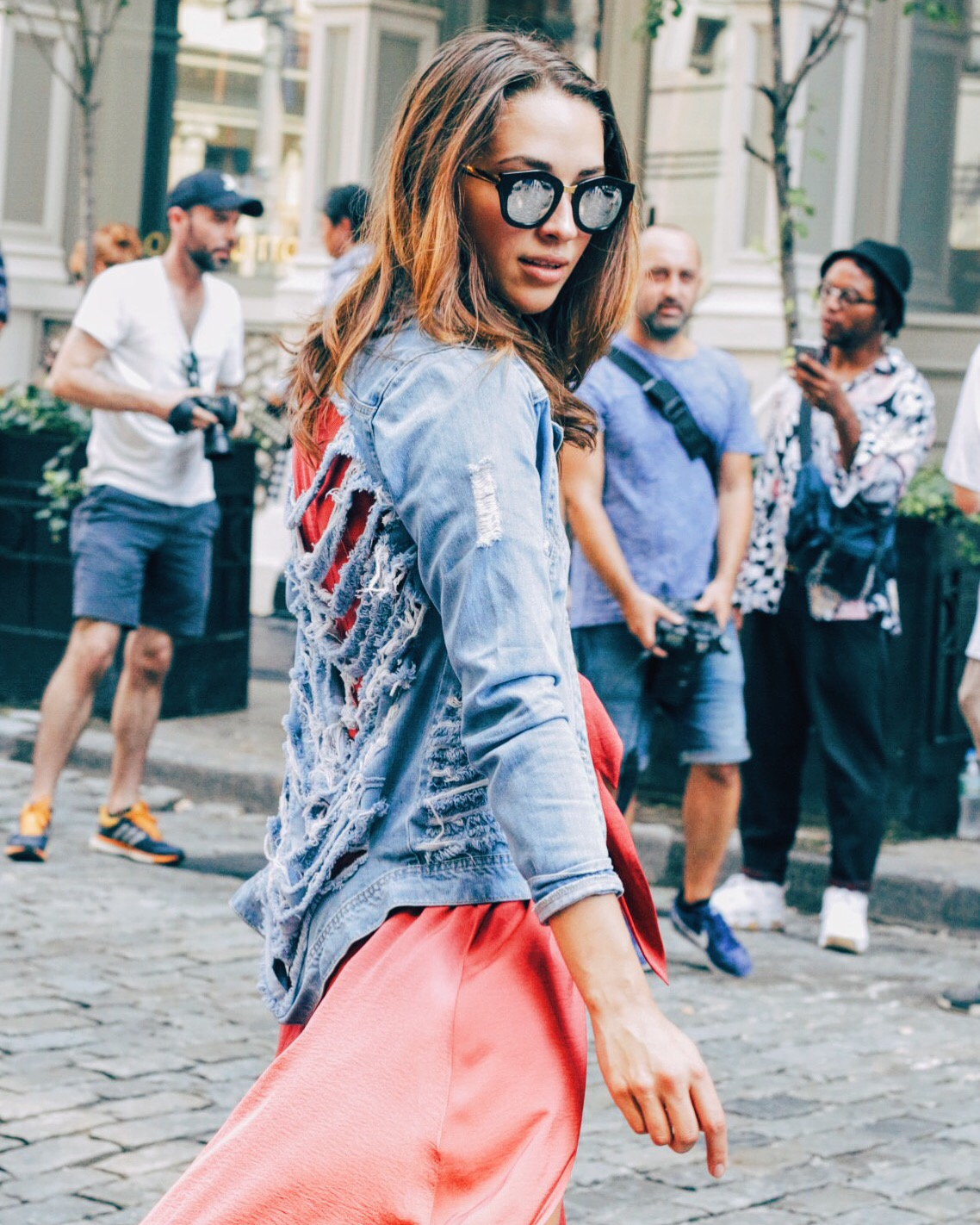 Xenia Mz streetstyle at NYFW Rebecca Minkoff SS17 show in Soho. Photographed by Juan Ordonez