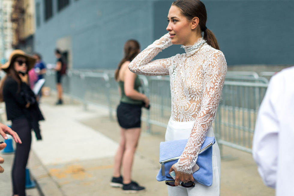 Xenia Mz NYFW spring summer 2017 Streetstyle day 3 outside of Jason Wu. Photo by Diego Zuko as seen on Harpers Bazaar