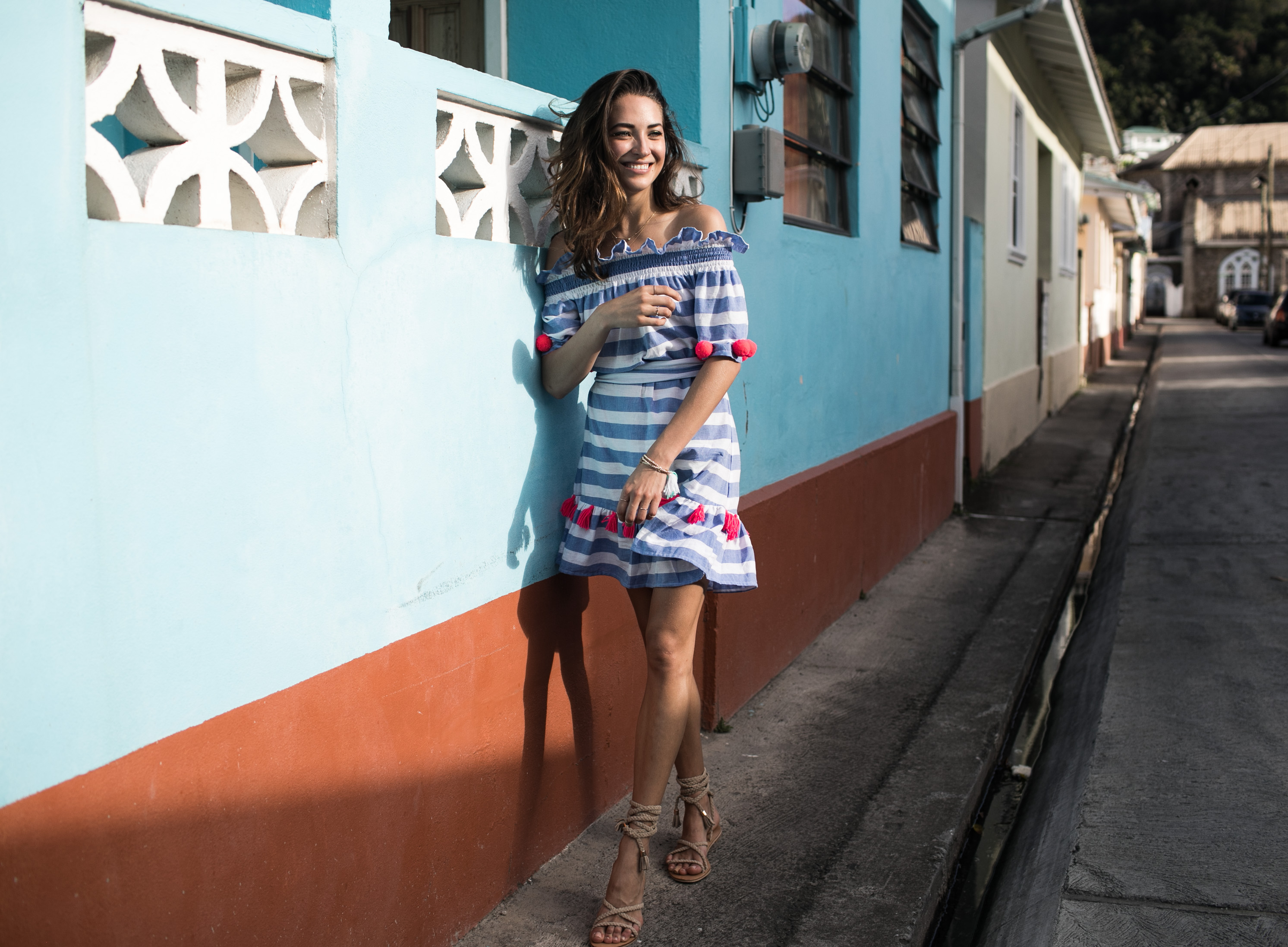 Fashion Photographer Samuel Black shoots model blogger Xenia Mz in Sundress Boho Luxe Style in St Lucia
