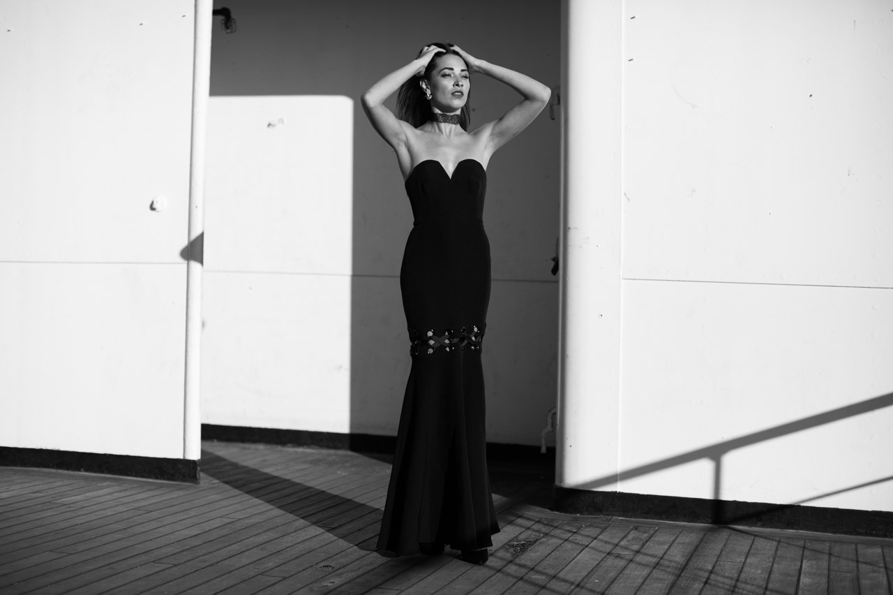 Red Carpet worthy. Blogger model Xenia Mz photographed on Queen Mary by photographer Samuel Black